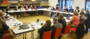 Un momento de la Asamblea de representantes de las distintas organizaciones de la AEDH