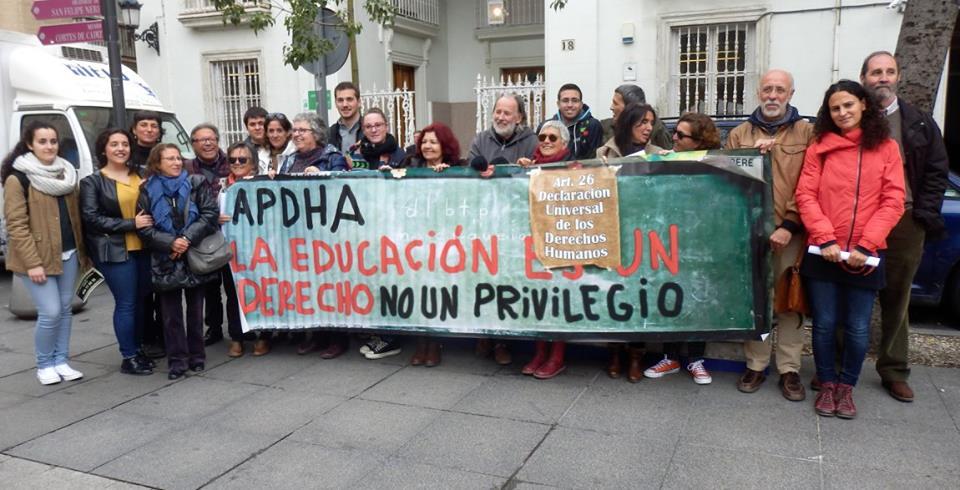 La APDHA muestra su apoyo a la huelga de enseñanza pública del próximo 4 de marzo