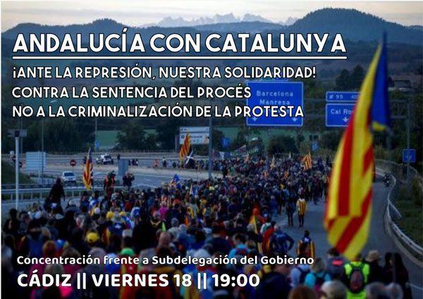 Cádiz: Concentración en solidaridad con Catalunya