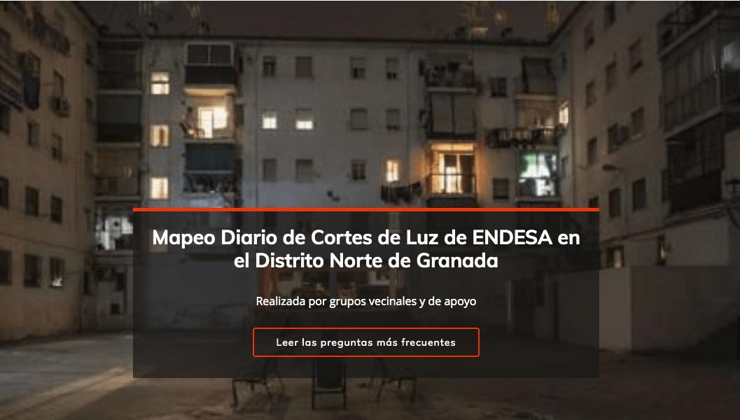 Granada: Web de mapeo diario de cortes de luz en el Distrito Norte