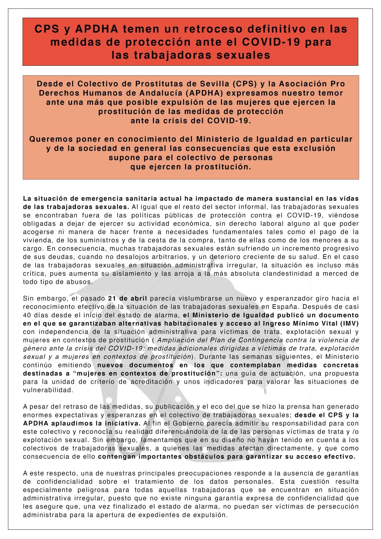 CPS y APDHA temen un retroceso definitivo en las medidas de protección ante el COVID-19 para las trabajadoras sexuales