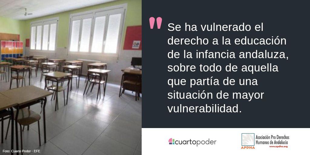 ¿Cuántos niños y niñas han quedado desescolarizados en Andalucía desde marzo?